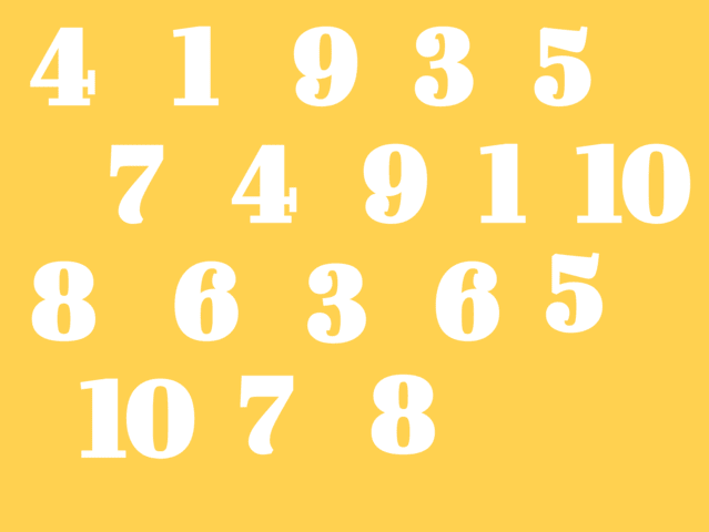 Which number between 1 and 10 is missing from this image?