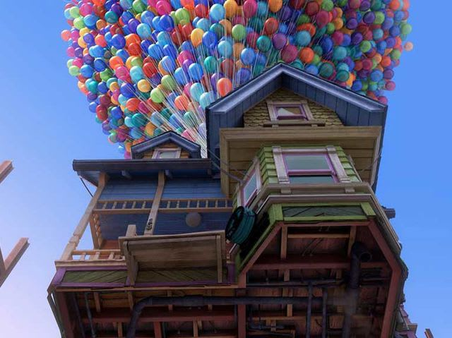 Although realistically, it would take between 9 and 12 million balloons to lift the house, animators created 20,622!