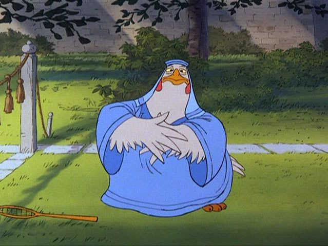 "It's Lady Cluck from ""Robin Hood""!"