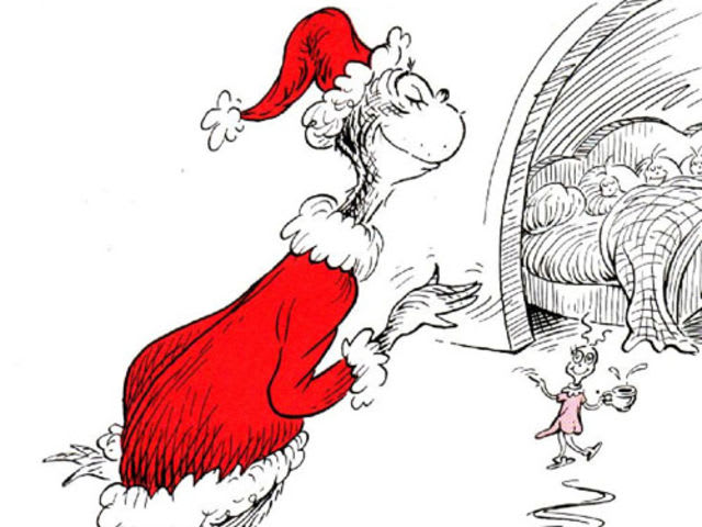 The original book illustrated the Grinch in black and white, with tints of red and pink!