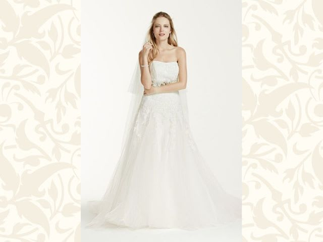 The ultimate wedding dress terminology quiz playbuzz a line gowns are fitted at the bodice and then flare gently to the ground junglespirit Image collections