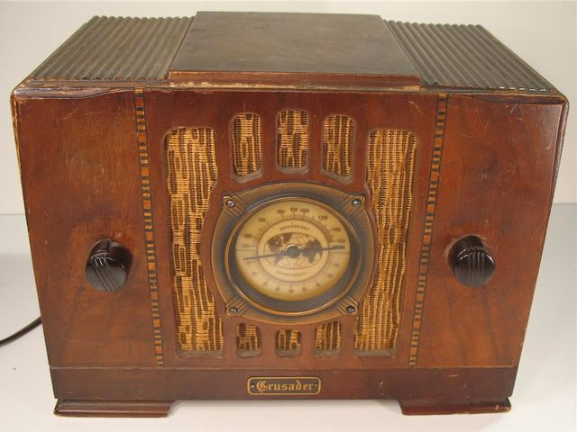 A radio receiver converts radio waves into sounds through a loudspeaker. They were the most popular from the 1930s to the 1950s.