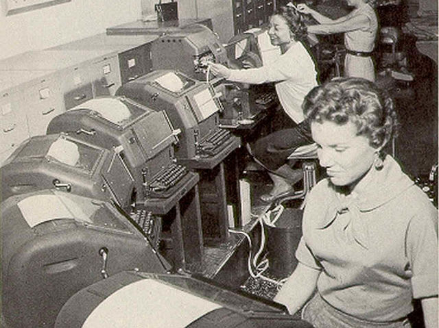 Teletypes were keyboard-operated machines that could send and receive messages by wire. They were used from the 1940s to the 1970s.