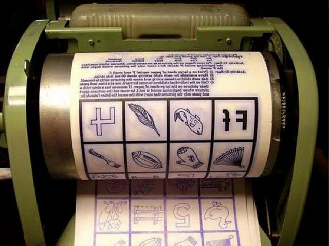 A Ditto machine employed a printing method in which a sheet of paper coated with colored wax was pressed into another sheet of paper. They were invented in 1923 and used until the 1970s.