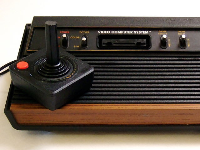 The Atari 2600 was a video game console with interchangeable game cartridges and a joystick. It was popular in the late 1970s and 1980s.