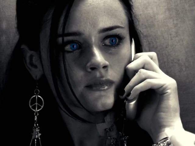 "Who is Becky talking to on the phone, when she meets ""The Salesman"" in the elevator?"