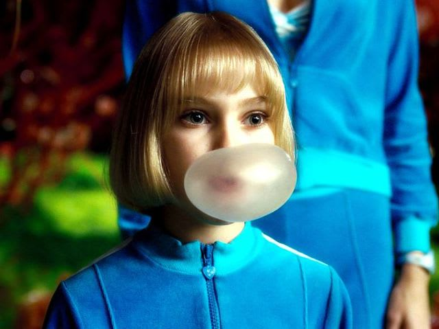 "Violet Beauregarde, ""a girl who chews gum all day"""