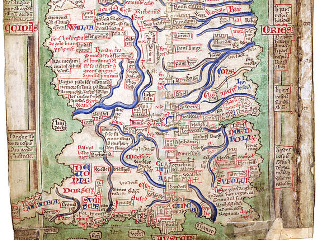 Part of England, as drawn by Matthew Paris, a 13th century chronicler.