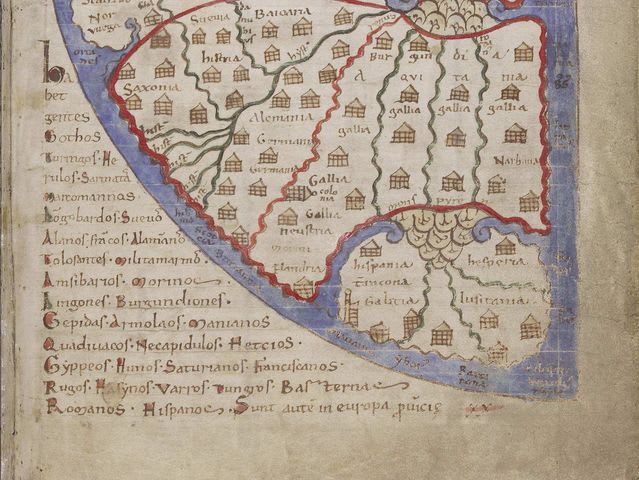 The Iberian Peninsula (Spain and Portugal) from the 12th century Liber Floridus.