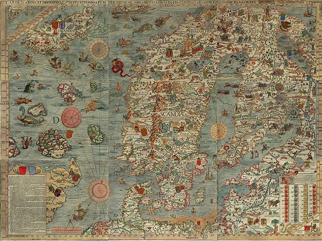 Denmark, shown in the 16th century Carta Marina