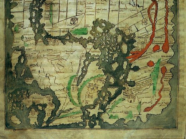 The British Isles are shown in the corner of the Cotton World map made in the 10th century.