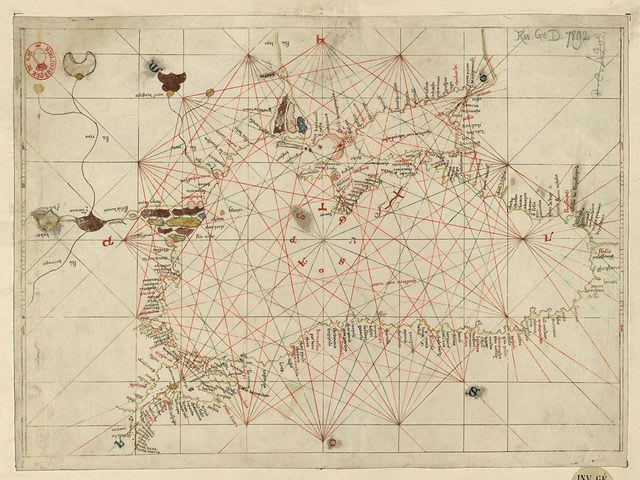 This map, made by Andrea Biancho in 1436, depicts the Black Sea region.