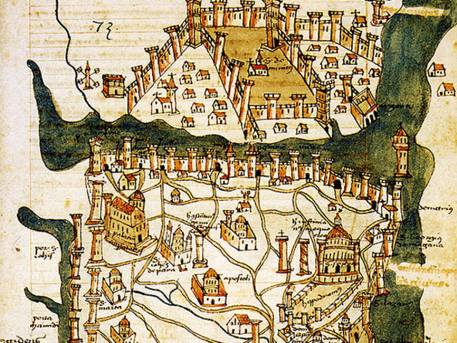 15th century map of Constantinople, now Istanbul.
