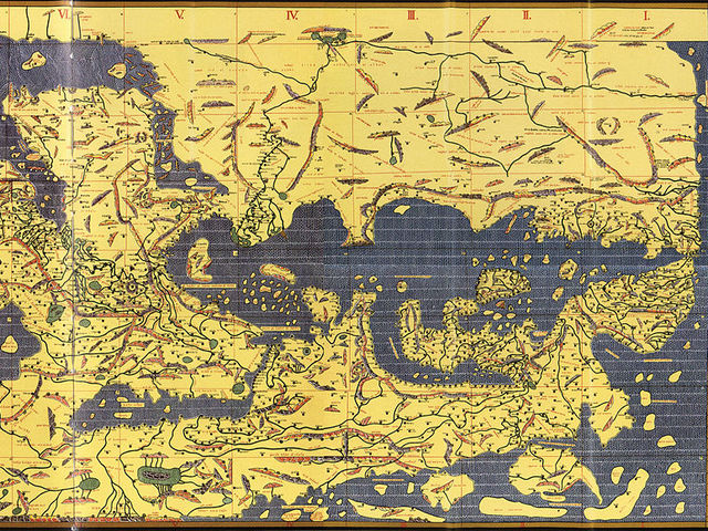 The part of Al-Idrisi's 12th-century map of the world shows present-day Turkey. The map has south at the top, so it appears 'upside down'.