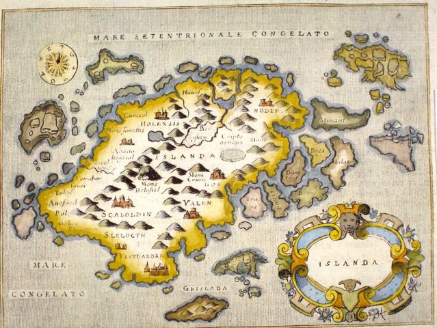 Iceland in a 16th century map.