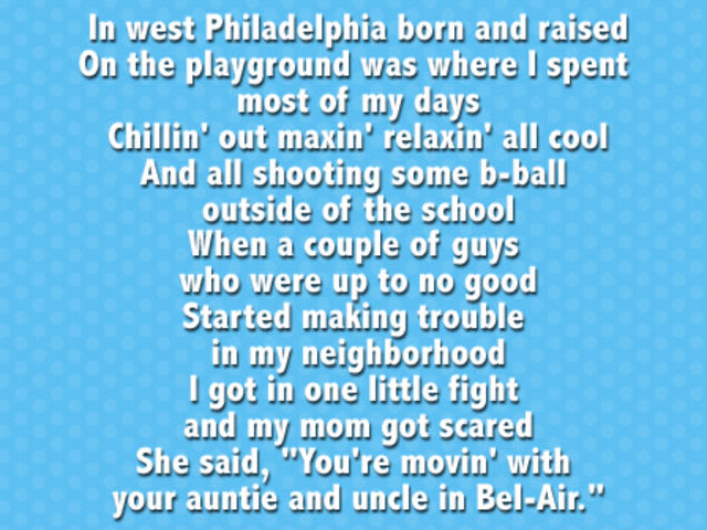 Fresh Prince of Bel Air Theme Song +Lyrics - video dailymotion