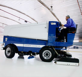 A machine for cleaning a hockey rink