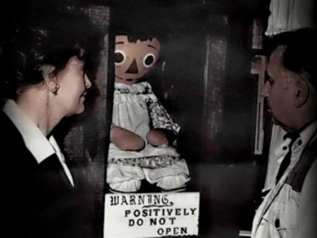 This is the actual doll behind the Annabelle we've all grown to fear on film. In the 70s, two college roommates who got it from a thrift store, found it doing some super creepy stuff, including attacking one of their friends, and eventually found out that it was possessed by a demon and not the spirit of a dead child like they had originally been told. Go figure.