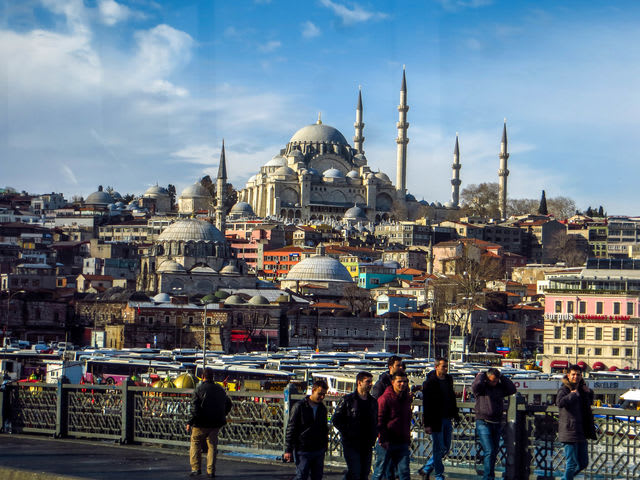 The New Mosque in Istanbul, Turkey, is located right at the end of the fisherman´s bridge connecting the districts of Sultanahmed and Galata