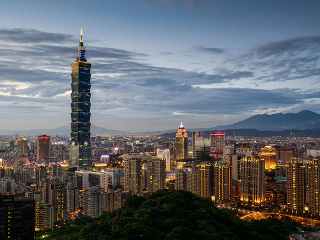 The Taipei 101 in Taipei, Taiwan, was the tallest building in the world until Burj Khalifa was constructed in Dubai.