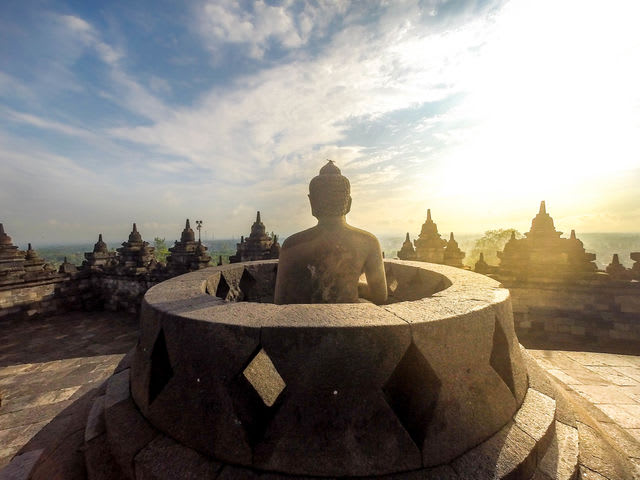 The Borobudur temple in Yogyakarta, Indonesia is an excellent alternative to the crowded Angkor Wat.
