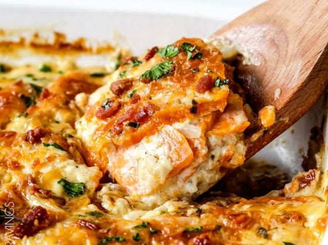 Scalloped sweet potatoes and Gruyere -- yes please!