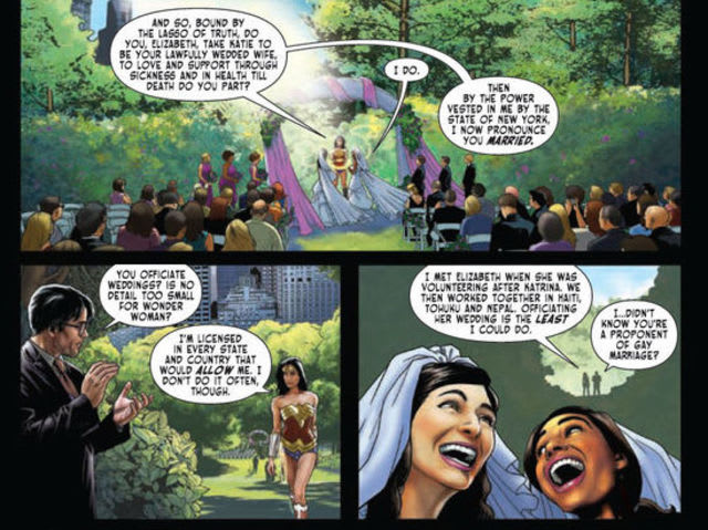 In 2015, Wonder Woman became the first DC superhero to officiate a gay marriage in the comics.
