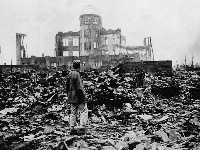 Which city was attacked by the first atomic bomb?