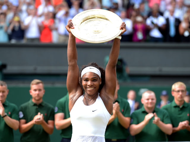 Serena Williams won the Wimbledon ladies singles trophy. How many times has she won the title?