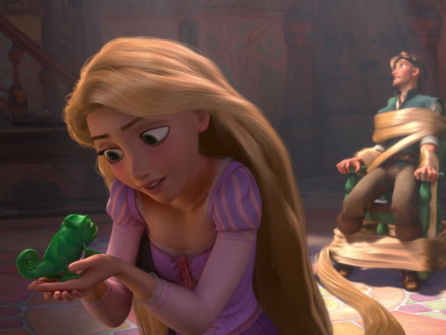 Pascal might not be furry, but he's still a perfect pet for a princess with a frying pan.