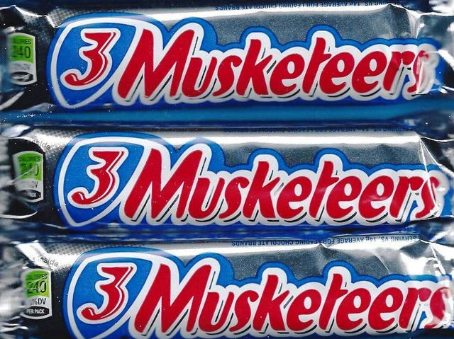 This one was tricky, but you can tell the 3 Musketeers bar apart from Snickers and Milky Ways by the stiff little chocolate peaks that form atop the bar.