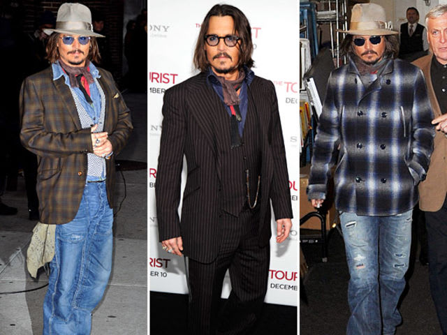How many articles of clothing has Johnny Depp worn the most of at one time?