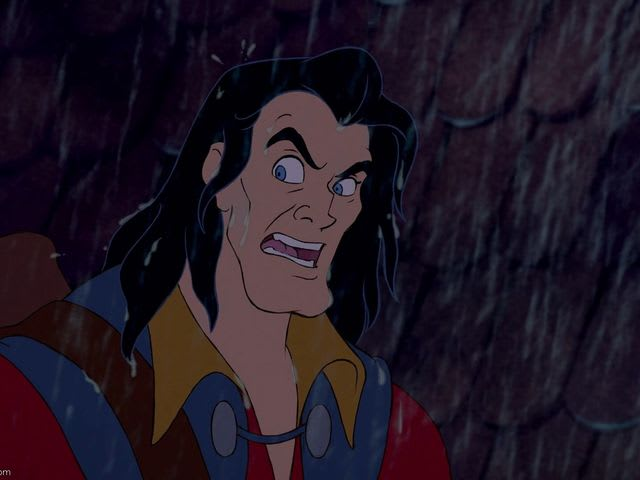 What does Gaston stab beast with at the end of the movie?
