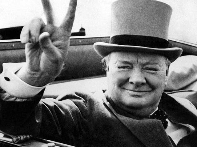 It's British Prime Minister Winston Churchill! He helped end the Nazi reign during World War II.