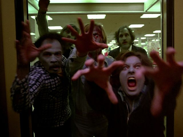 Green faces and plenty of blood were a trademark of Dawn of the Dead and its surrounding films!