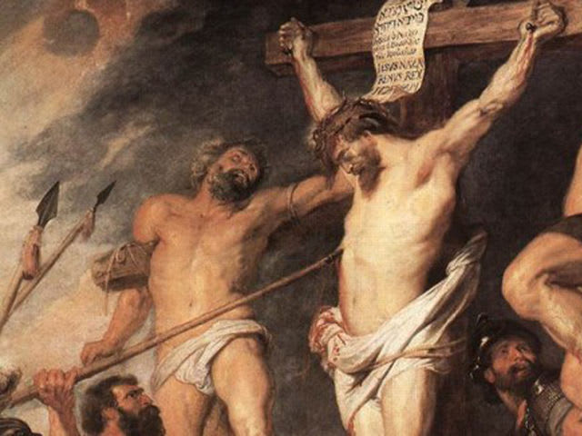 "A penitent ""good"" thief is crucified alongside Jesus."