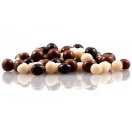 Milk, white and dark chocolate pearls