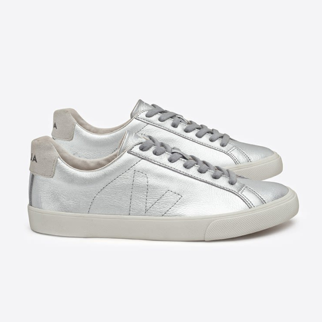 Silver trainers  Image courtesy of Veja