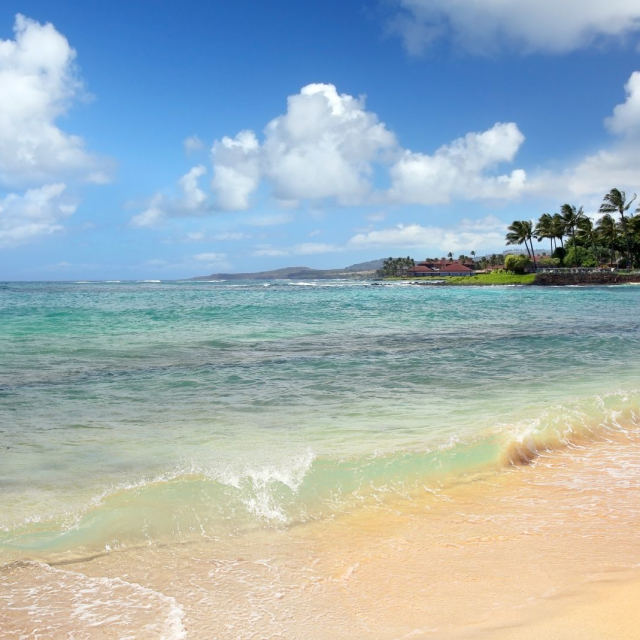 Relaxing on a beach in Kauai, Hawaii, after a delicious fresh lunch