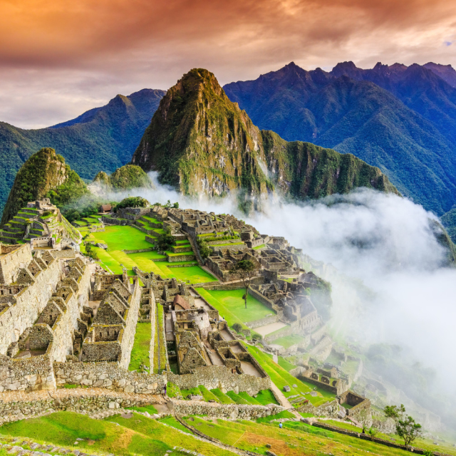 Hiking up Machu Picchu