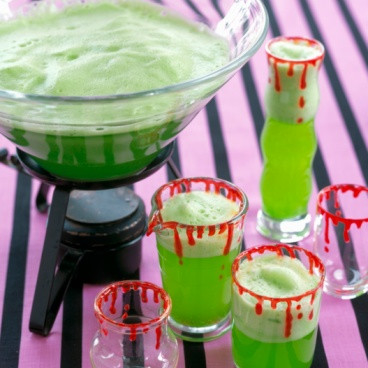 Frothy green cocktails