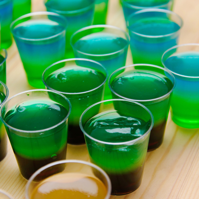 A green Jell-o shot