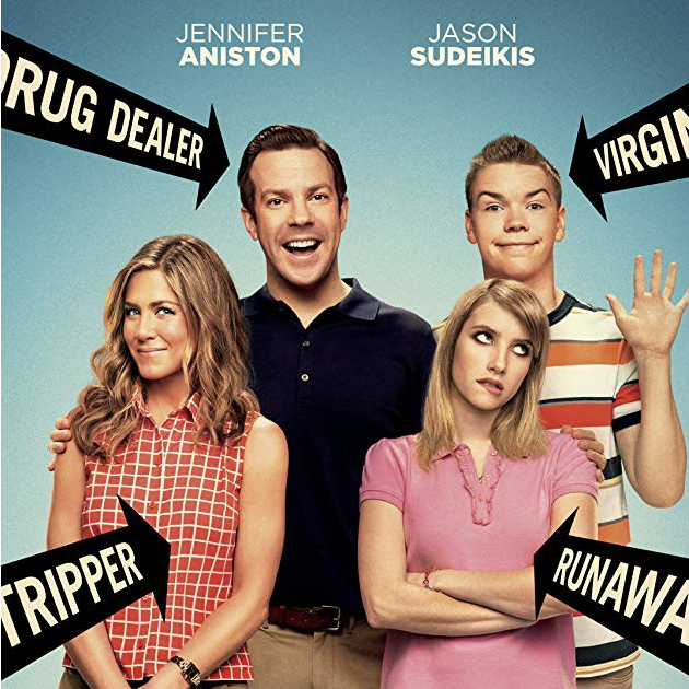 """We are the Millers starring """"Rachel""""  A veteran pot dealer creates a fake family as part of his plan to transport a huge shipment of weed."""