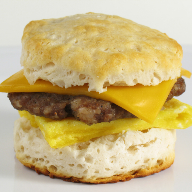Sausage, egg, and cheese on a biscuit