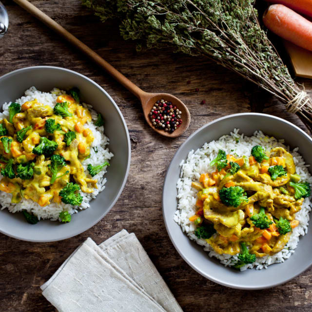 Steamed rice and vegetables