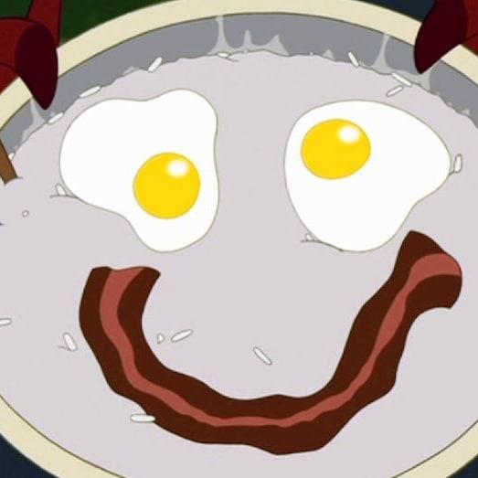 Porridge, eggs, and bacon
