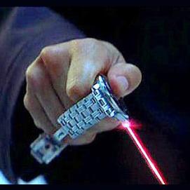 Designer watch with built in laser pointer.