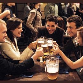Meeting friends at a bar
