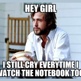 Hey Girl. I still cry everytime I watch The Notebook too.