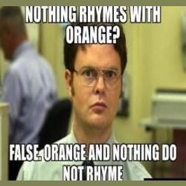 Nothing rhymes with orange. False. Orange and nothing do not rhyme.
